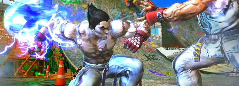 O personagem Kazuya enfrenta Ryu em imagem do jogo Street Fighter X Tekken.