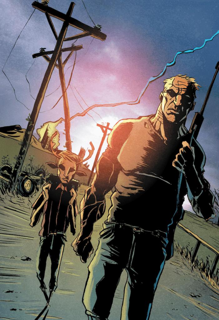 Em primeiro plano, Jepperd empunha uma arma e é seguido por Gus, que carrega uma mochila.