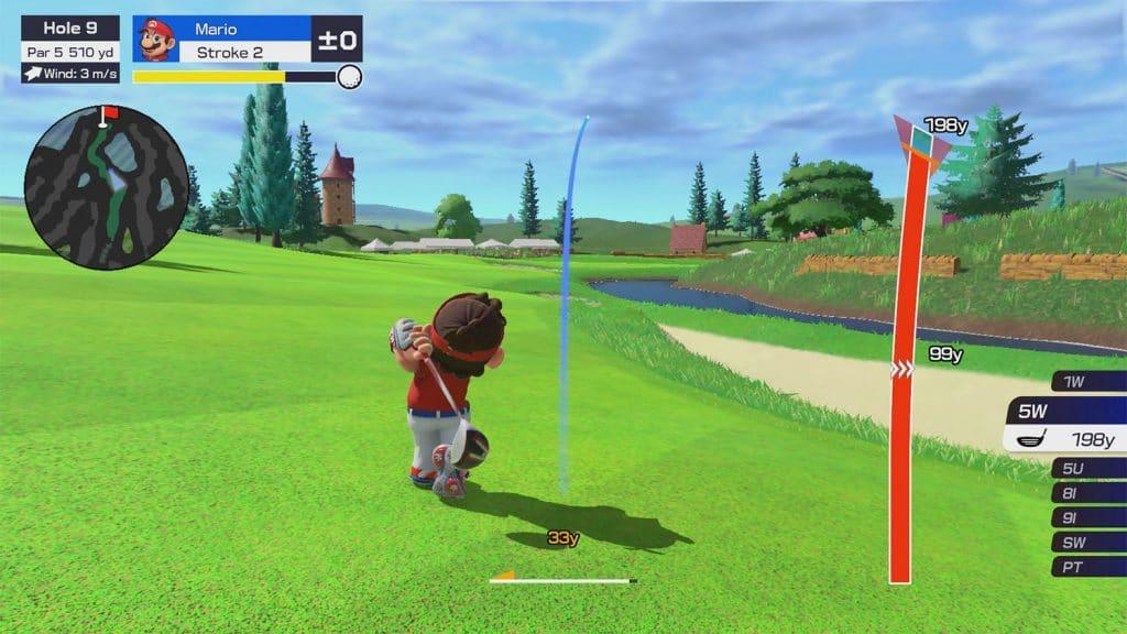 Captura de tela do jogo mostra Mario realizando tacada em campo de golfe.