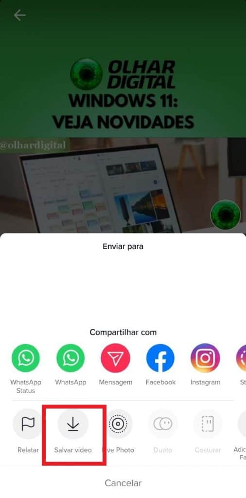 Tela do aplicativo do TikTok