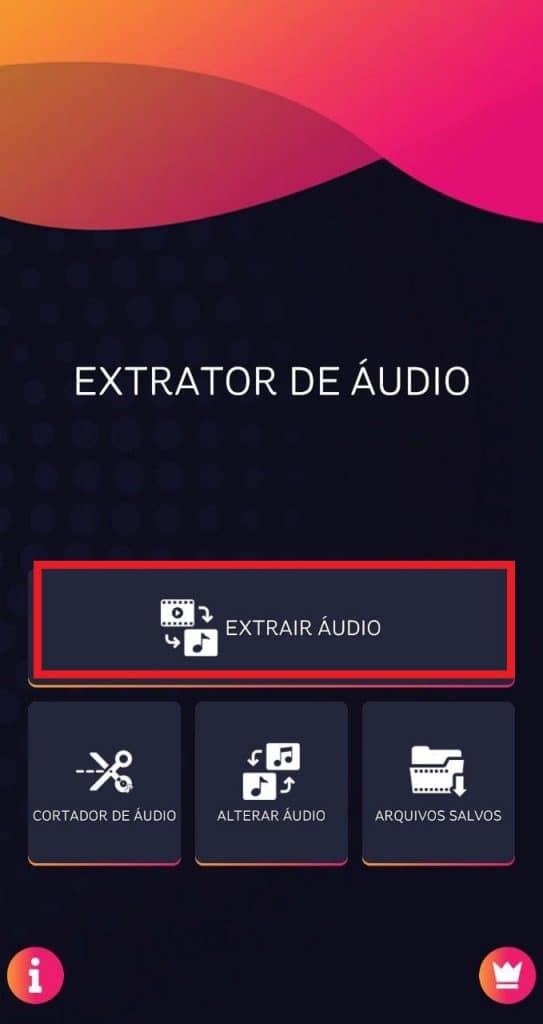 Tela do aplicativo Extrator de Áudio
