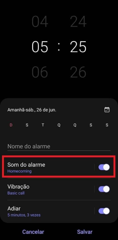 Tela do aplicativo Alarme dos celulares Samsung