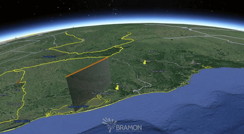 Trajetória do Meteoro pela Atmosfera. Créditos: BRAMON