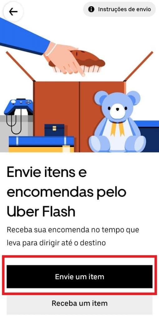 Print do aplicativo da Uber