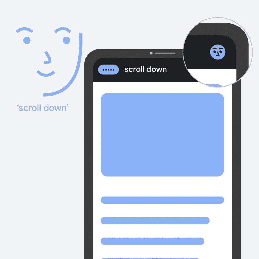 Imagem do Voice Access, app de acessibilidade do Android que ganhou novos recursos de reconhecimento para quando o usuário olhar para a tela