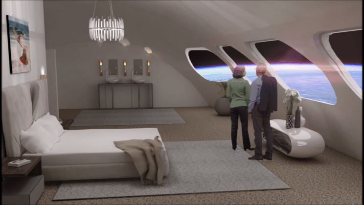 Illustration shows two people looking at Earth in a Voyager Space Station suite.