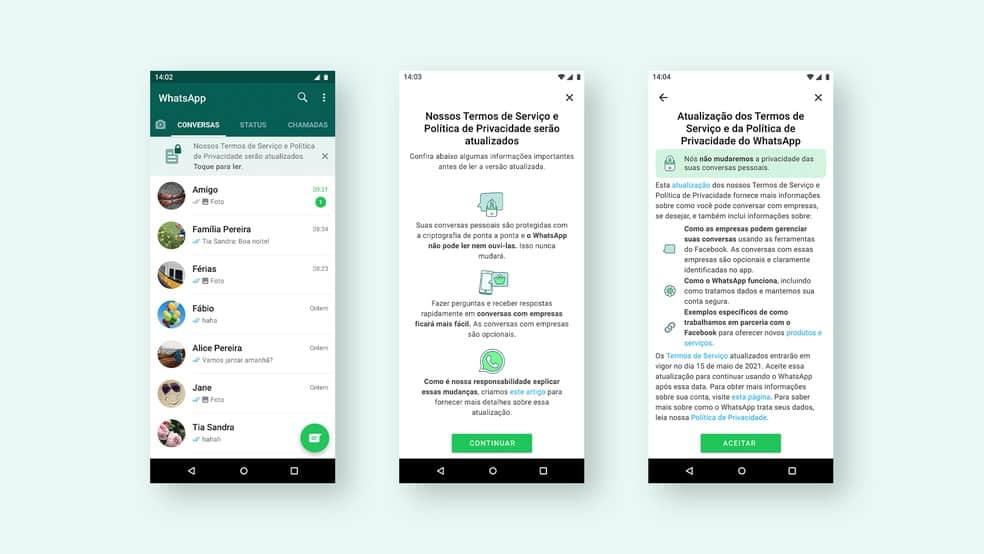 Termos da nova política de privacidade do WhatsApp