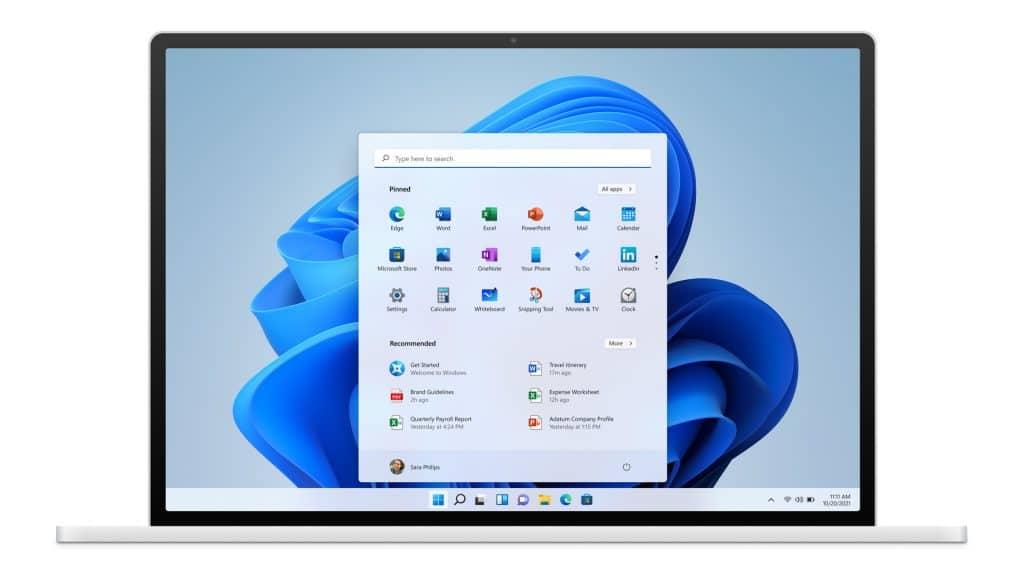 Ilustração do Windows 11 aberto em notebook