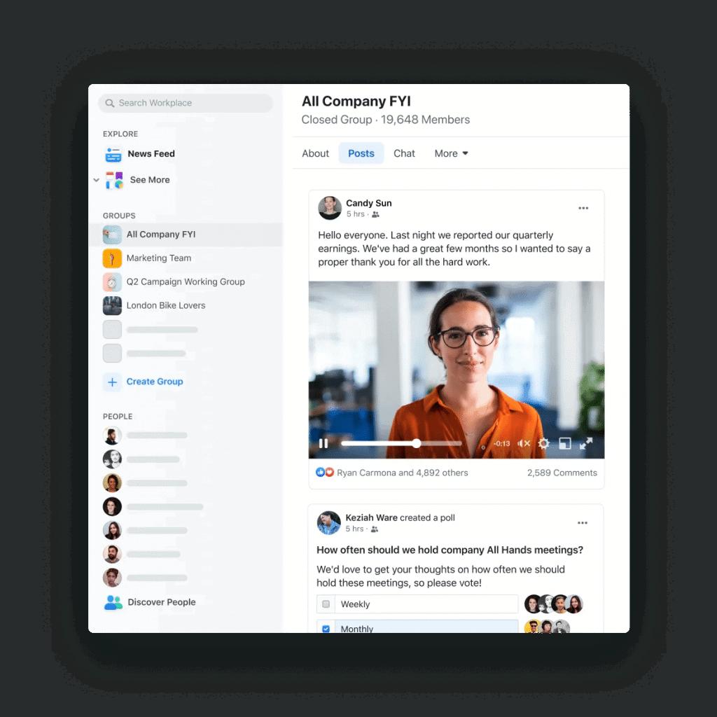 Feed de notícias do Workplace