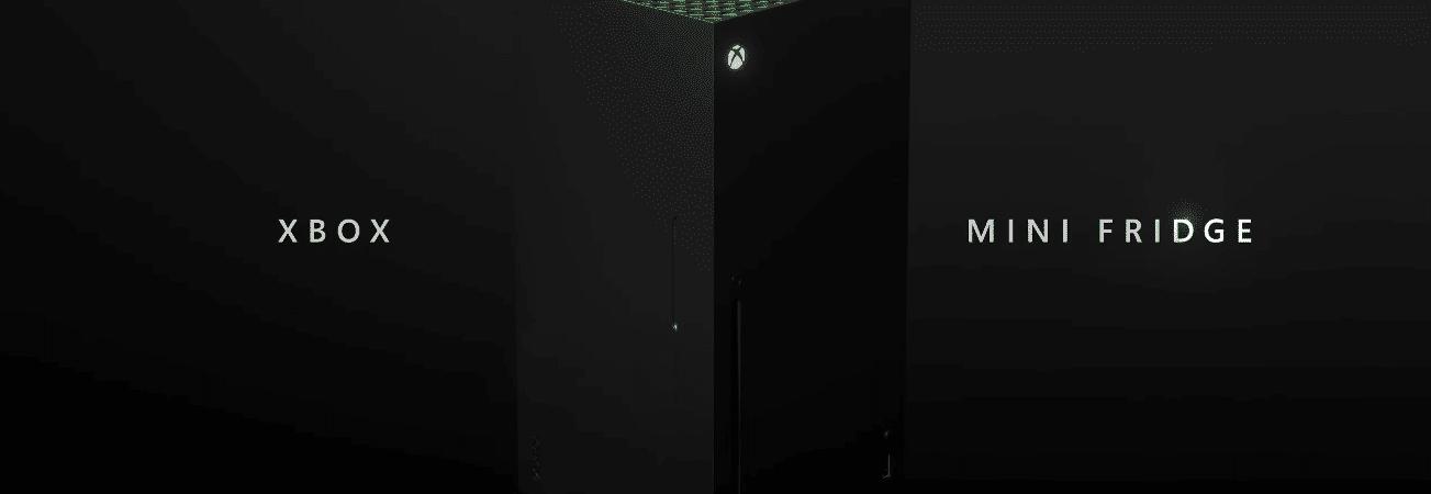 Imagem promocional da mini geladeira Xbox revela eletrodoméstico no formato do console Xbox Series X.