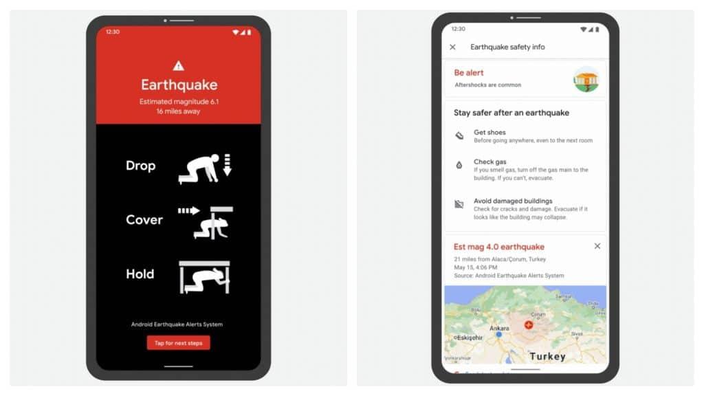 Capturas mostram o alerta de terremotos do Android em funcionamento