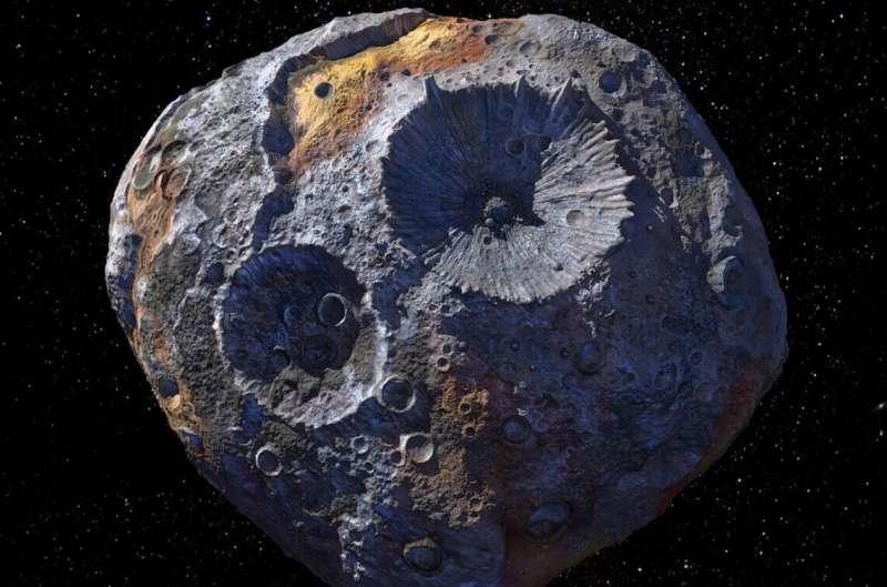 Renderização em 3D mostra o asteróide 16 Psyche, que pode ter uma origem diferente daquela que cientistas imaginaram