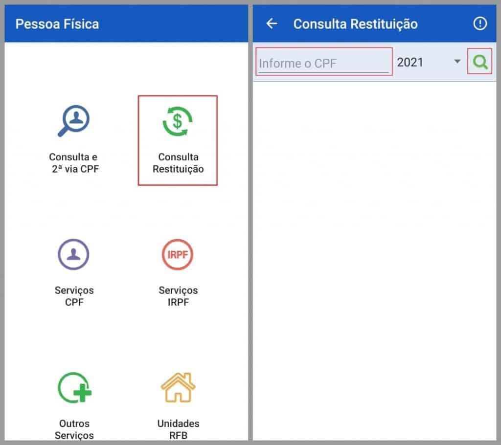 Consulta a restituição do IRPF pelo aplicativo