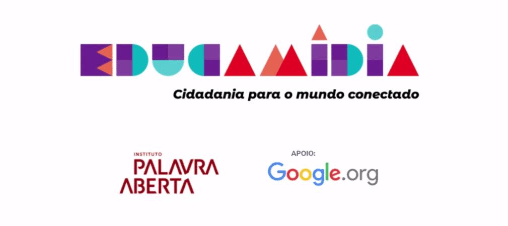Logo do projeto EducaMídia, parceria do Google.org e do Instituto Palavra Aberta