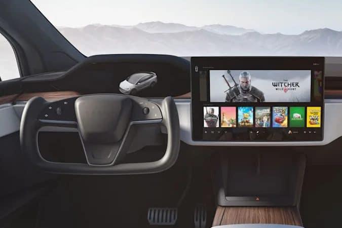 """Carros da Tesla terão """"videogames"""" com processador e GPU AMD. Imagem: Tesla/Divulgação"""