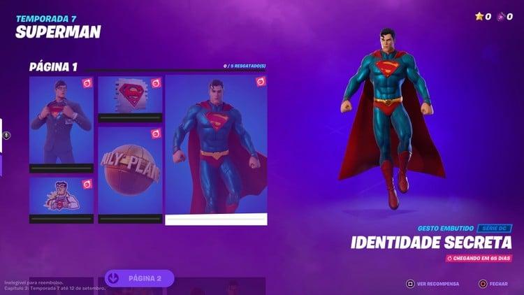 Olhe para o céu! Superman está em 'Fortnite'. Imagem: Epic Games/Reprodução