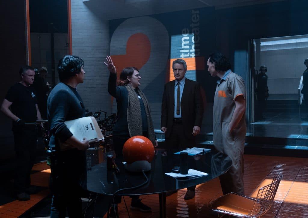 (L-R): Director Kate Herron, Owen Wilson and Tom Hiddleston on the set of Marvel Studios' LOKI, exclusively on Disney+