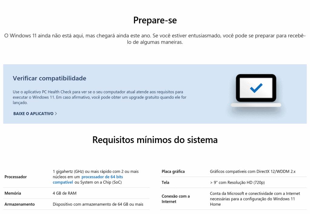 Requisitos mínimos para rodar o Windows 11.