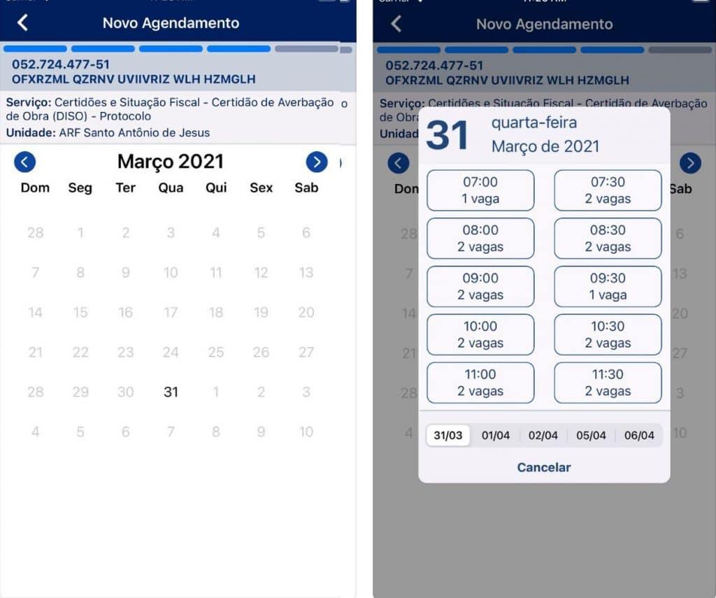 Saiba como usar o app de Agendamento da Receita Federal. Imagem: App Agendamento RFB