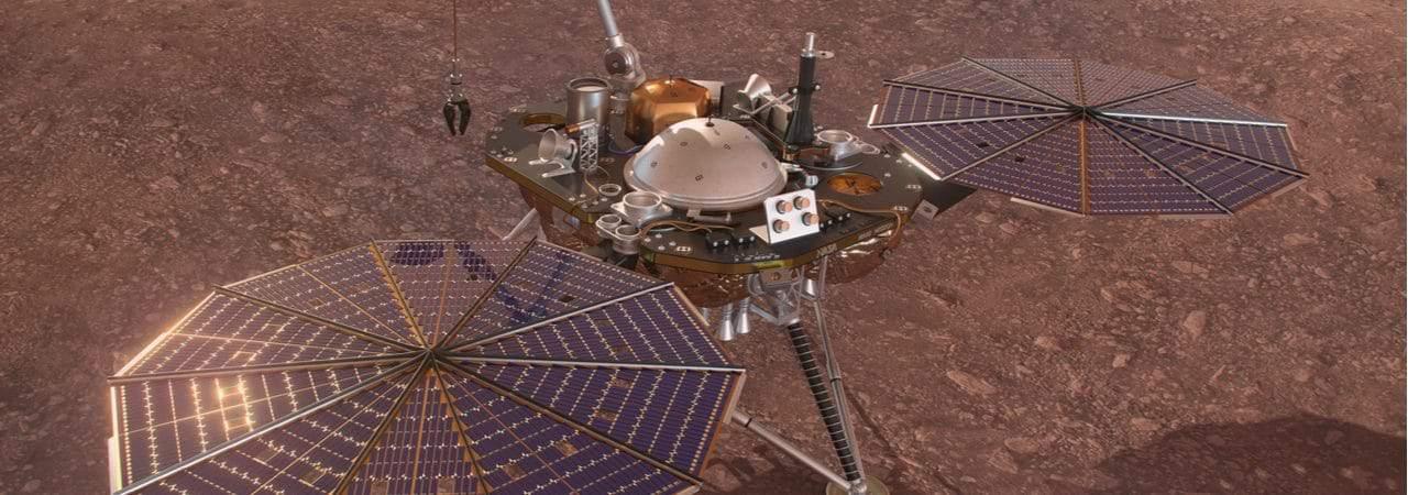Ilustração em 3D mostra o módulo InSight, enviado a Marte pela Nasa em 2018