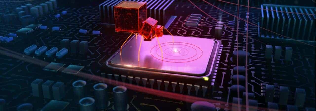"""imagem mostra um desenho digital de uma aranha """"invadindo"""" um processador, simbolizando a infecção de um malware"""