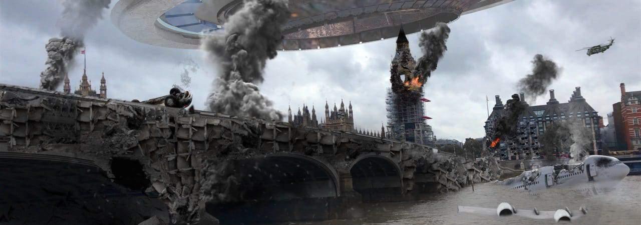 Ilustração em 3D retrata um cenário de invasão alienígena na Terra