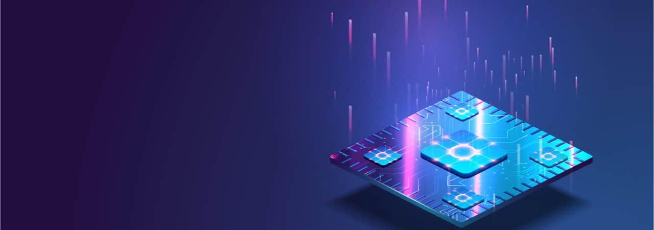 Imagem mostra uma renderização 3D de um chip semicondutor