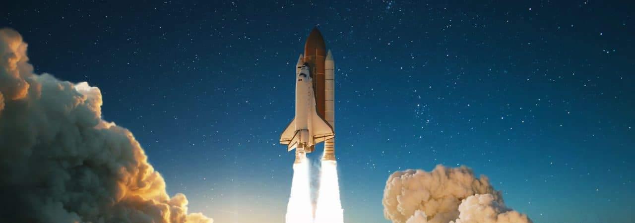 Ilustração mostra um foguete espacial sendo lançado de sua plataforma