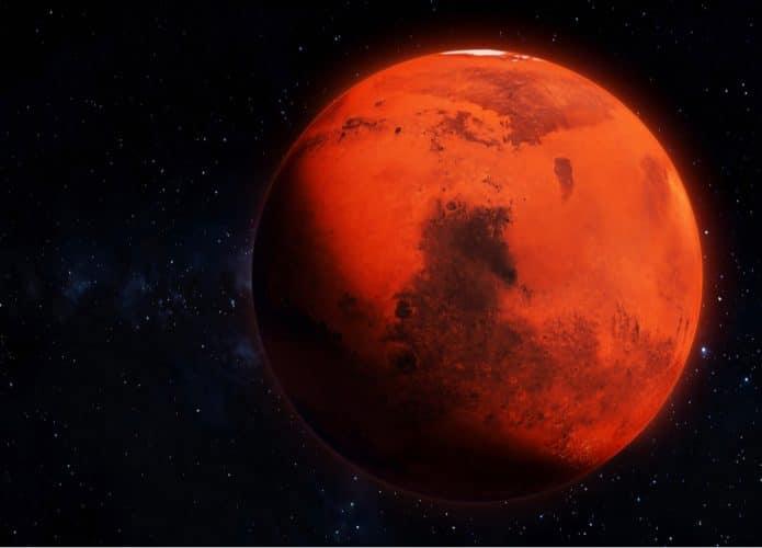 Ilustração mostra Marte visto do espaço