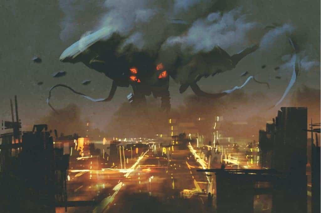 Imagem mostra uma invasão de alienígenas à Terra, durante conquista da Via Láctea