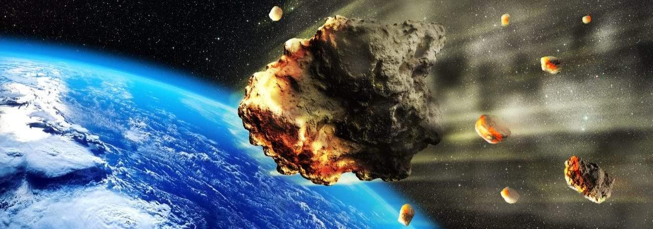Imagem mostra renderização artística de um meteorito em rota de colisão com a Terra