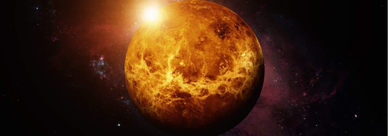 Ilustração mostra o planeta Vênus visto do espaço