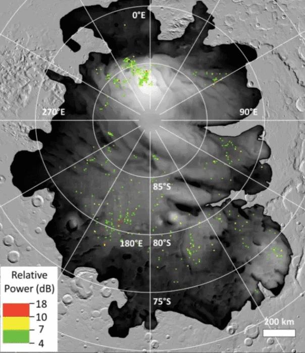 Imagem de radar mostra que Marte pode ter dúzias de lagos de água em seu pólo sul, embora hipótese ainda não esteja confirmada