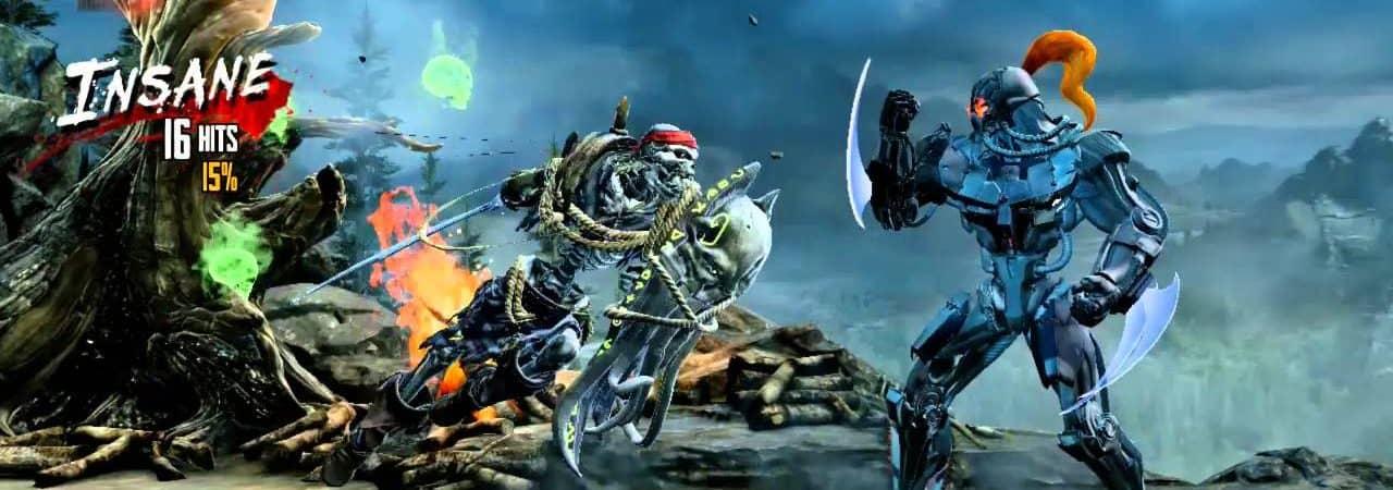 Tela do jogo Killer Instinct mostra os personagens Fulgore e Spinal se enfrentando.