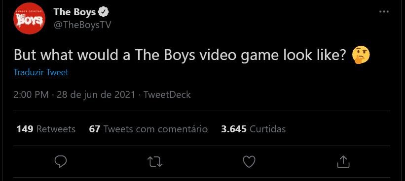 tweet especulativo sobre um video game da série the boys