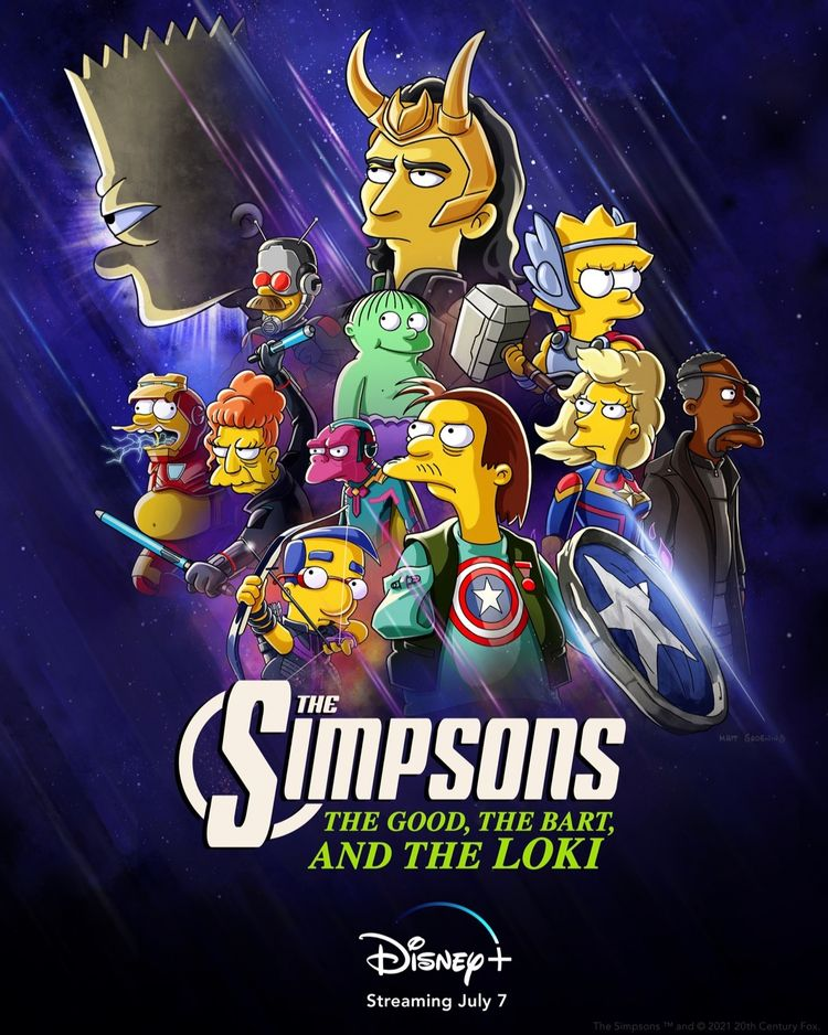 Disney+ apresenta 'Loki' a 'Bart Simpson' em um curta animado com tema da Marvel. Imagem: Divulgação/Disney