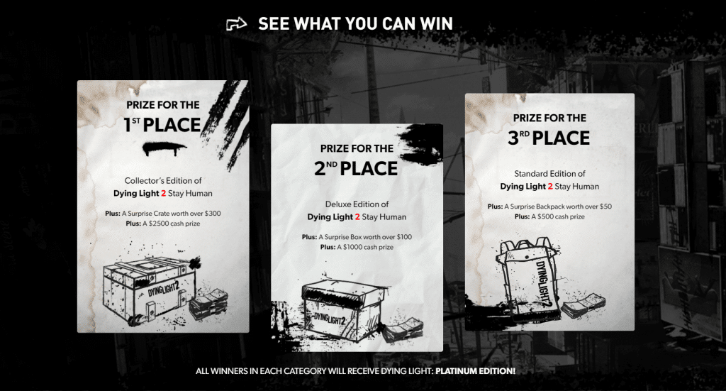 'Dying Light 2 Stay Human User Contest' prize can be in cash or in advance copies of the game. Image: Techland/Disclosure