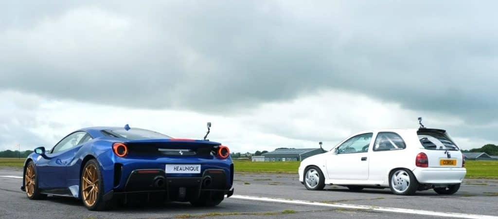 Zelador cria Corsa de 1.200 cv e dois motores e vence Ferrari 488 Pista. Imagem: Youtube/Reprodução
