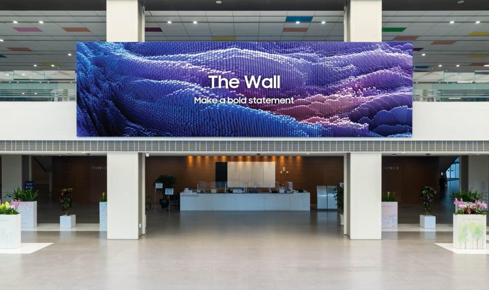 Imagem de divulgação da Samsung mostra o display The Wall, com mil polegadas de tamanho. Empresa lançou nova versão do produto em julho de 2021