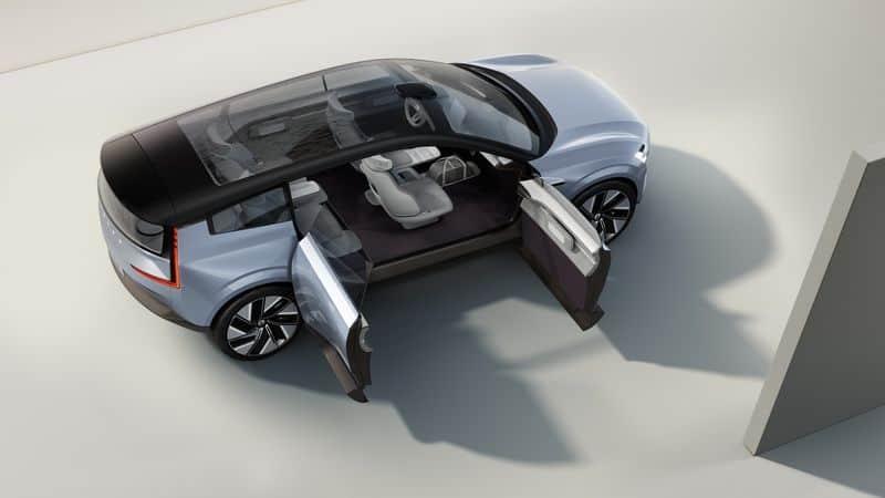 """O elétrico da Volvo tem """"portas suicidas"""" no conceito, mas provavelmente não chegará em um modelo oficial. Imagem: Volvo/Divulgação"""