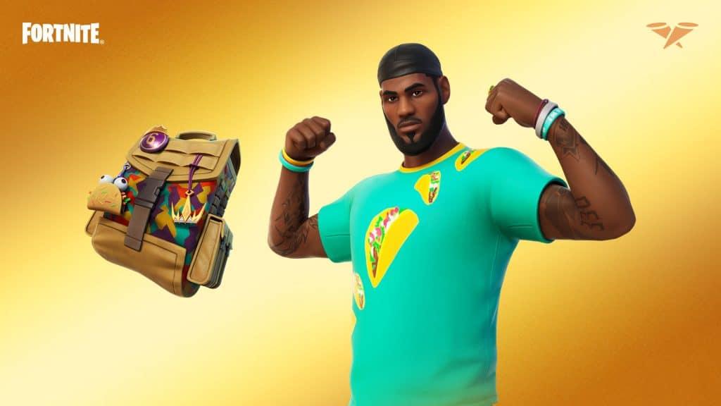O Traje Terça do Taco do LeBron também arrasa. Imagem: Epic Games/Divulgação