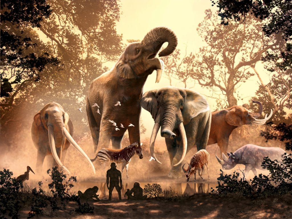 Ilustração mostra fauna da África ocidental há 4 milhões de anos