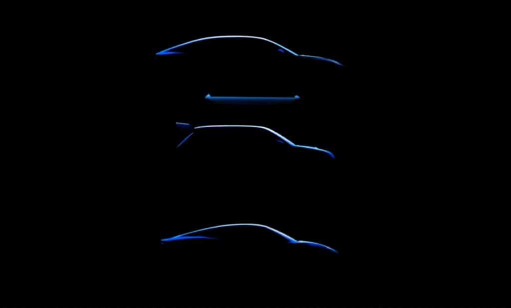 Silhuetas de três carros