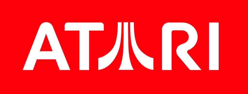 Logotipo da Atari em fundo vermelho