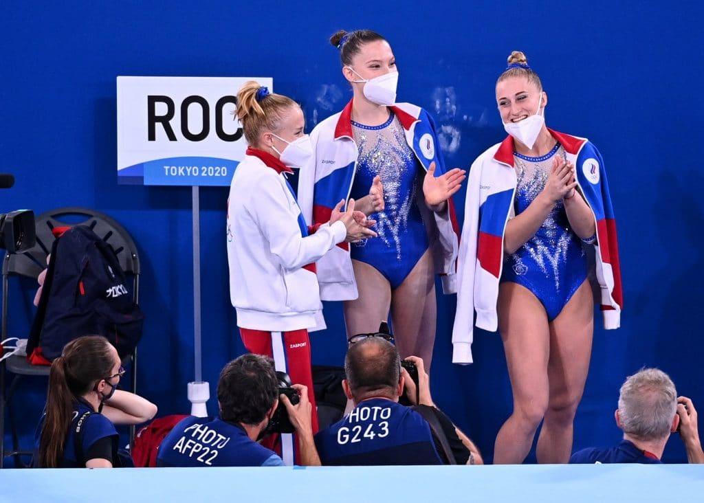 Atletas da ginástica artística feminina do ROC nas Olímpiadas de Tóquio