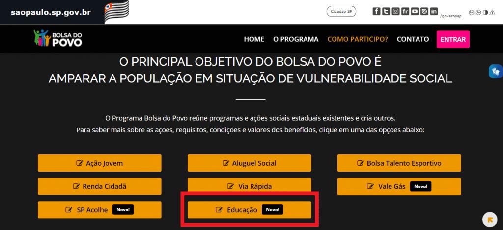 Print do site do Bolsa do Povo do governo de São Paulo