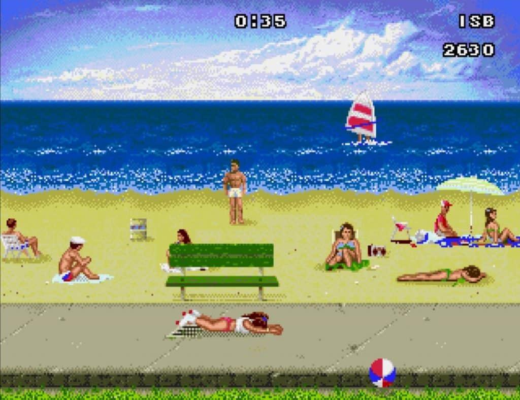 Imagem mostra versão do jogo para Mega Drive. Cena exibe patinadora caída em cenário de praia.