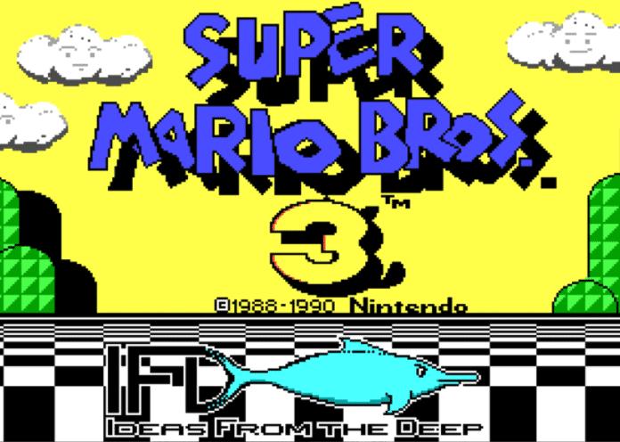 Tela inicial da demo de Super Mario Bros. 3 para PC.