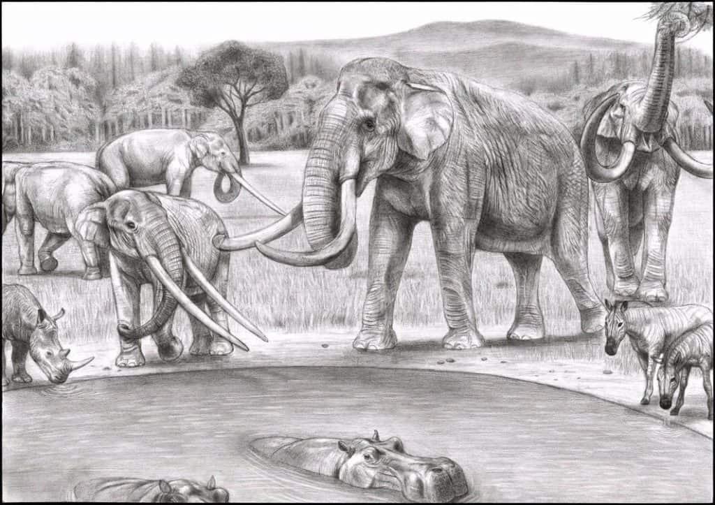 Ilustração mostra fauna da Europa há 2 milhões de anos