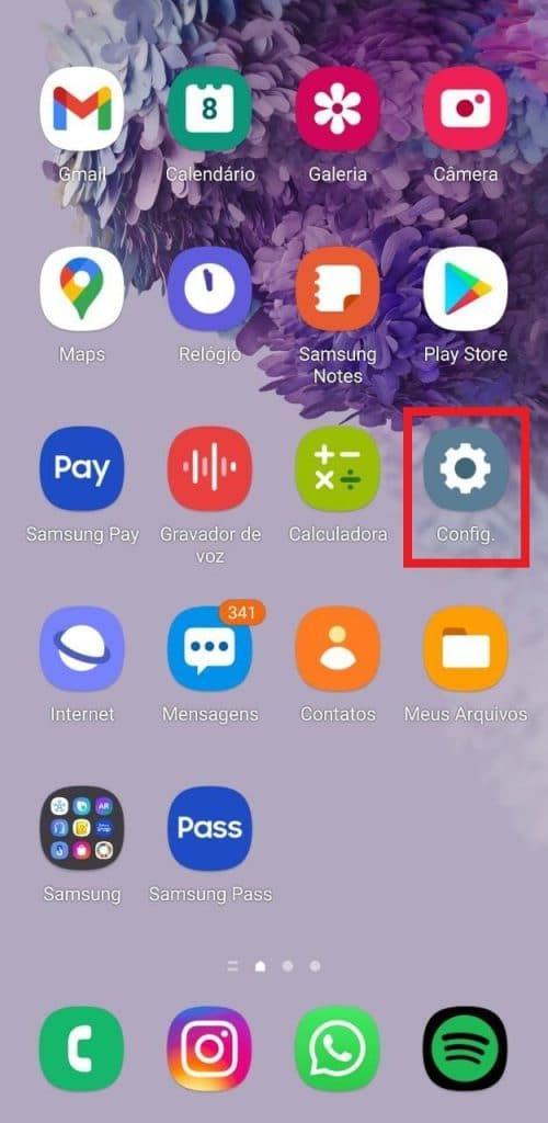 Print do sistema operacional do Android
